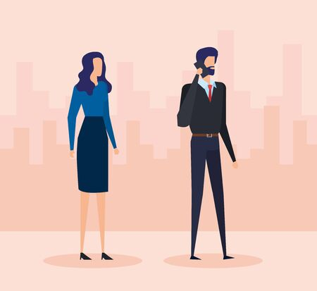 professional businesswoman and businessman with elegant clothes and smartphone to office success, vector illustration Illustration