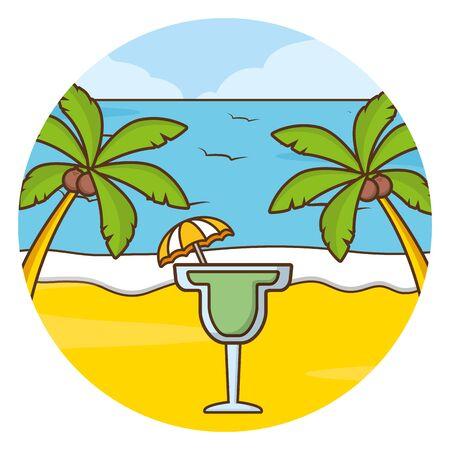 vacations beach palm sea cocktail vector illustration Illustration