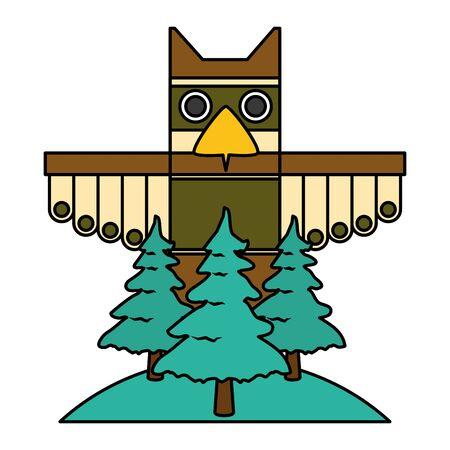 canadian totem forest trees nature culture Illusztráció