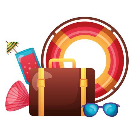 summer time holiday lifebuoy suitcase juice sunglasses shell  vector illustration Stock Illustratie