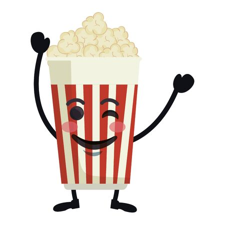 delicious pop corn  character vector illustration design