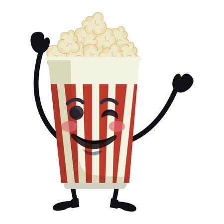 delicious pop corn  character vector illustration design