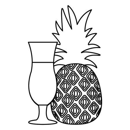 pineapple juice tropical fruit fresh vector illustration Illustration