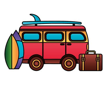 summer time holiday van car surfboards suitcase  vector illustration