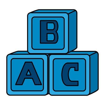 alphabet blocks toys baby icons vector illustration design