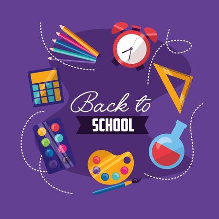 back to school supplies class start vector illustration Ilustração
