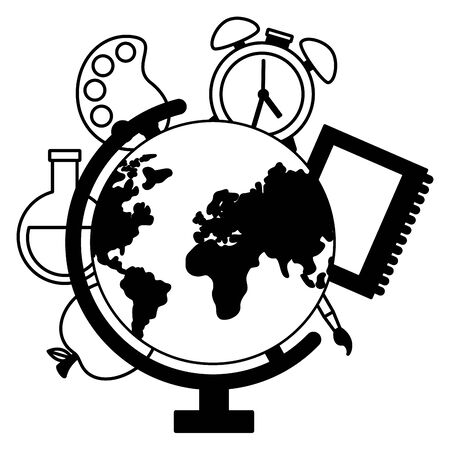 world map apple book clock back to school vector illustration