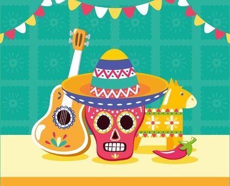 skull guitar and pinata celebration viva mexico vector illustration Ilustração