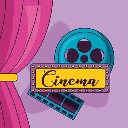 cinema movie billboard reel film curtain vector illustration