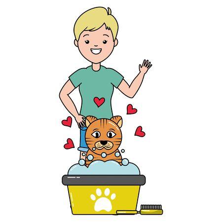 Chat femme toilettage seau et brosse vector illustration
