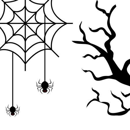 dry tree with spiders isolated icon vector illustration design Foto de archivo - 130397849