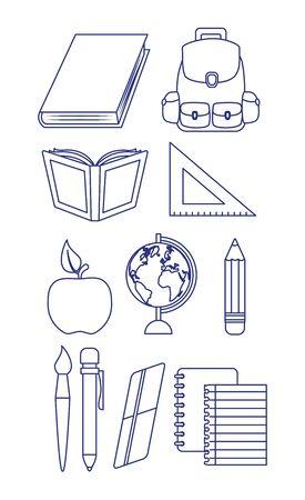 regreso a clases sketch apple book pencil ruler eraser bag vector illustration Ilustração