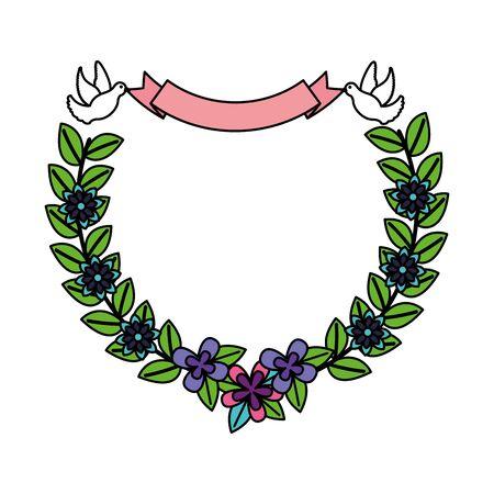 romantic pigeon with flowers ribbon decoration vector illustration Ilustração