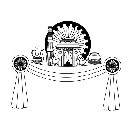indian gateway with ashoka chakra and lotus flowers vector illustration design