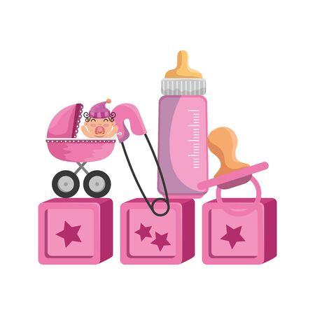 baby shower card with little newborn and accessories vector illustration design Ilustração