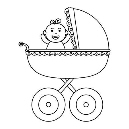 Panier bébé avec petit garçon caractère vector illustration design