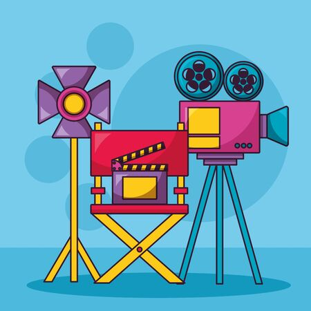projector light chair clapboard cinema movie vector illustration Illustration