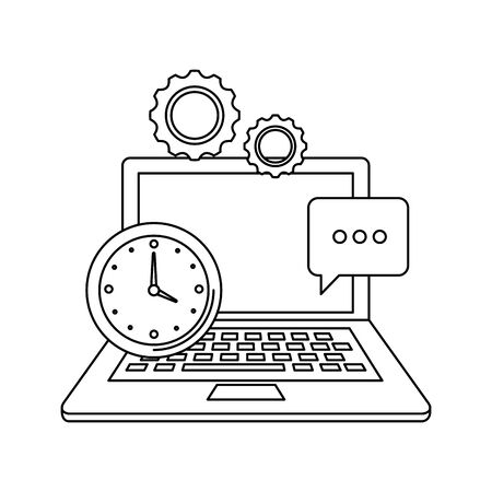 laptop computer with gears settings vector illustration design 일러스트