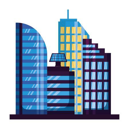 skyscrapers city urban buildings exterior vector illustration