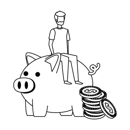 young man seated in piggy savings with coins money vector illustration design