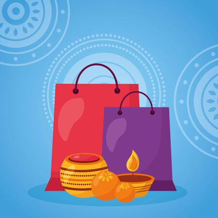 raksha bandhan candles gifts celebrate vector illustration