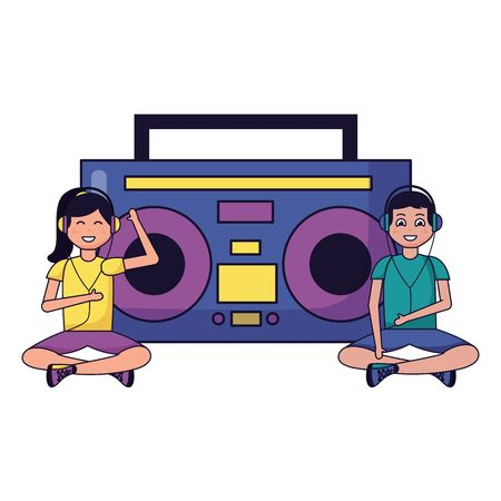 boy and girl sitting with radio stereo listening music vector illustration Illustration