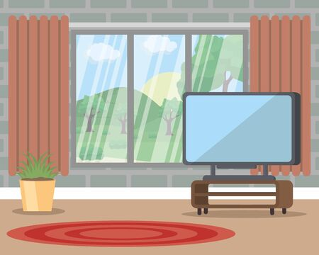 big living room with television and plant vector illustration