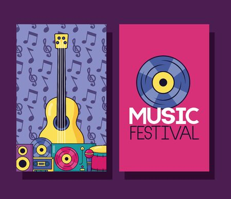 guitar drum cassette vinyl music festival banner vector illustration Illustration