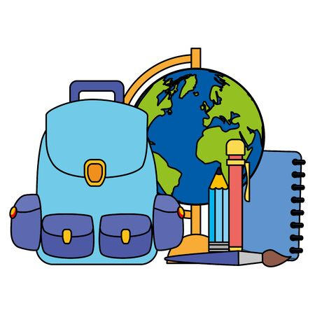 backpack world map book pencil brush back to school vector illustration Иллюстрация