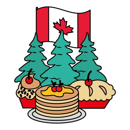 dessert food trees flag happy canada day vector illustration