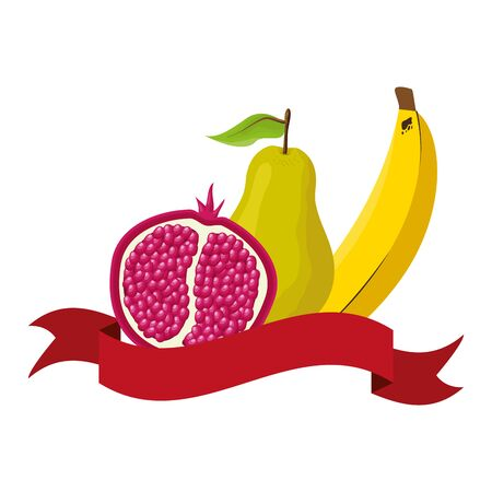 pear banana grapefruit tropical fruits banner sticker vector illustration Ilustracja