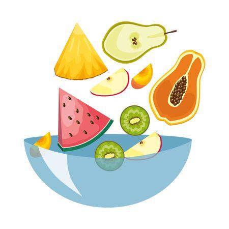 falling papaya watermelon kiwi apple pear in bowl tropical fruits vector illustration  イラスト・ベクター素材