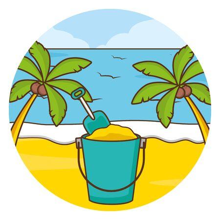 vacations beach palm sea sand bucket vector illustration