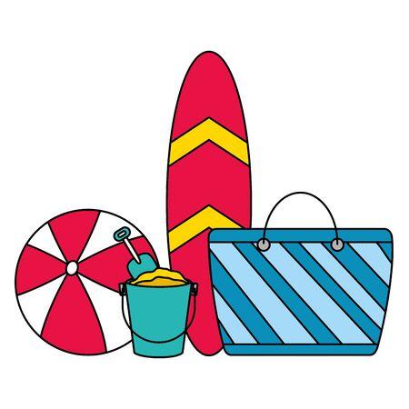 vacations surfboard bag ball bucket vector illustration