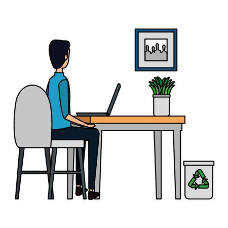 man in office workplace scene with laptop vector illustration design