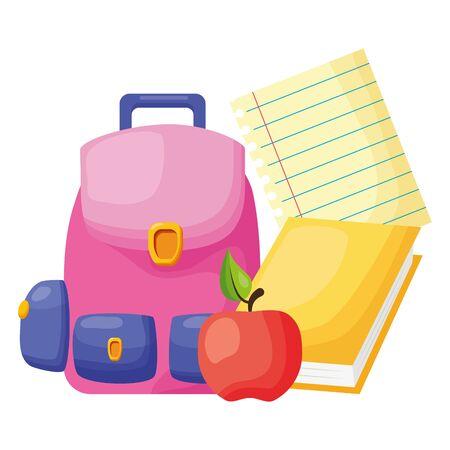 backpack apple book sheet back to school vector illustration