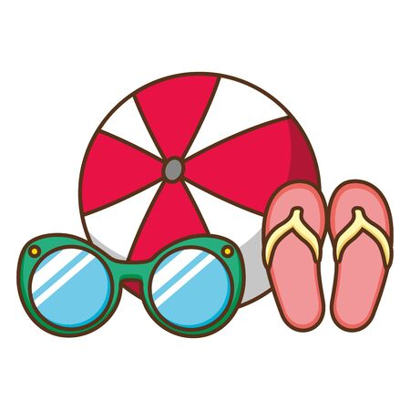 beach vacations ball sunglasses sandals  vector illustration Banque d'images - 130414689