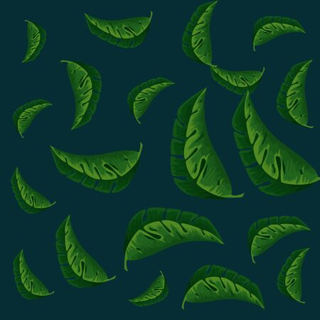 exotic leafs plants pattern vector illustration design