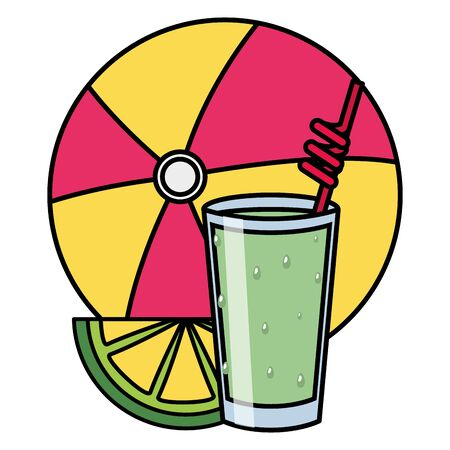 summer time cold juice and beachball vector illustration Ilustração