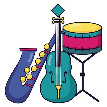Ilustración de vector de música de festival de instrumentos de tambor y violín de saxofón