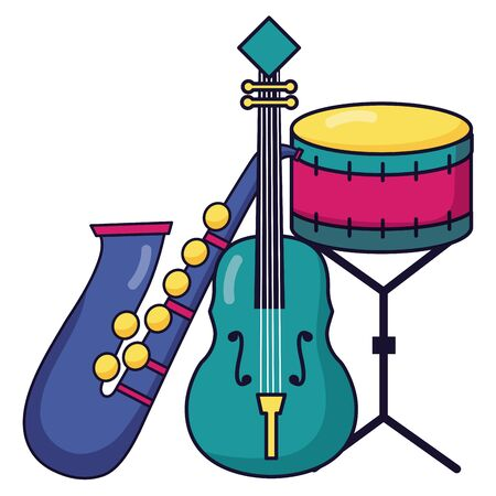 saxophone fiddle and drum instrument festival music vector illustration Stock Illustratie