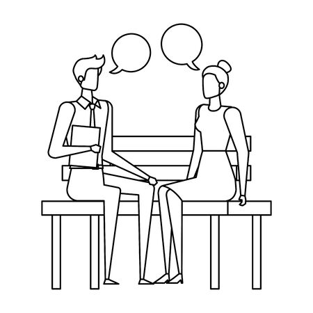 business couple seated in the park chair with speech bubbles vector illustration