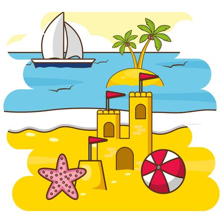 summer time holiday vacations beach sand castle ball starfish boat vector illustration Foto de archivo - 130414786