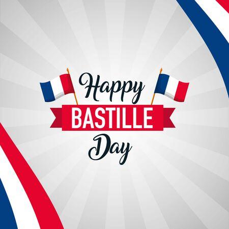 france flags background happy bastille day vector illustration