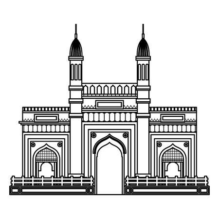 jama masjid famous building icon vector illustration design 스톡 콘텐츠 - 130414936