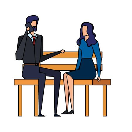 business couple calling with cellphone in the park chair vector illustration design