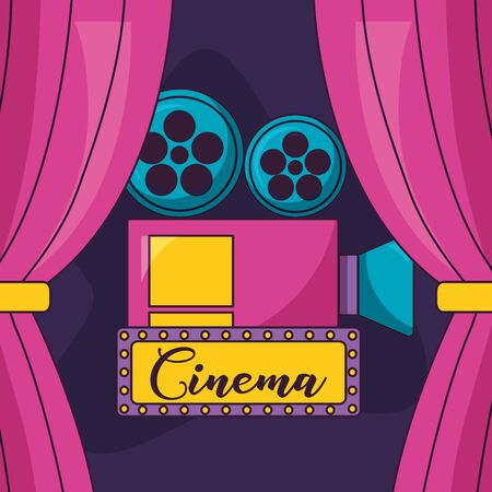 projector billboard curtains cinema movie vector illustration Illustration