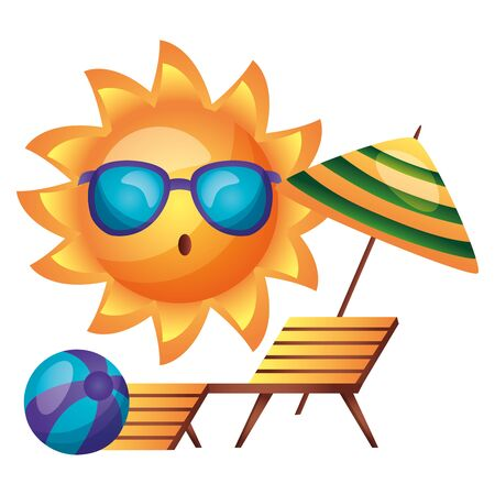 summer time holiday sun character deck chair and ball vector illustration 스톡 콘텐츠 - 130415321