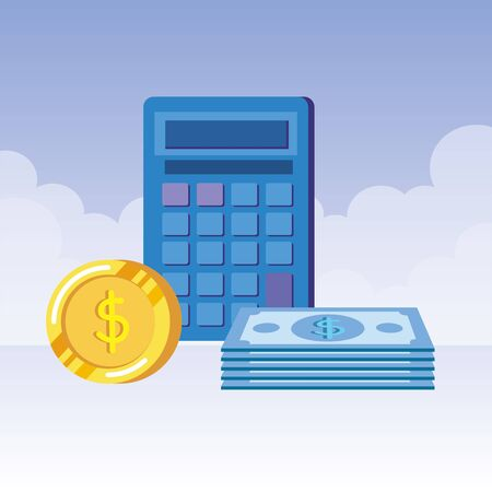 coins and bills money dollars with calculator vector illustration design