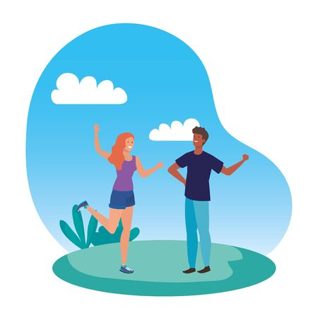 young interracial lovers couple in the landscape vector illustration design 向量圖像